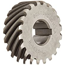 Boston Gear H1620L Plain Helical Gear, 45 Degree Helix, 14.5 Degree Pressure Angle, 0.500 Bore, 16 Pitch, 20 Teeth, Steel, LH