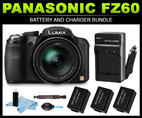 For Sale Panasonic Lumix FZ60 Digital Camera Battery and Charger Bundle (x3 DMW-BMB9PP Batteries Cleaning Kit)