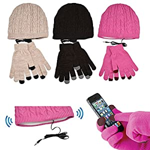 Puregadgets© Smartphone Touch Screen Gloves & Beanie Headphone Hat Touchscreen iPhone iPad Samsung Galaxy Winter Headset Earphones - use with any Phone Screen - Perfect Christmas Xmas Present