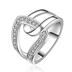 New Fashion Hot Sale Jewelry Crystal Paved Unique Design 925 Silver Ring(O)