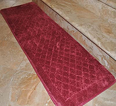 Single Piece Luxurious Foam Bath Burgundy Runner, Mate, Non-Skidding Latex, Rug, Non-Reversible, Geometric And Solid Color Pattern, Simple Elegance Design, Memory Foam And Polyester Material, Mahogany