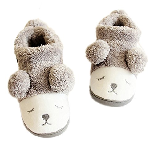 MiYang Women's Warm Plush Soft Sole Indoor Slipper Grey(high Top) 10 B(M) US (Bear Slippers compare prices)