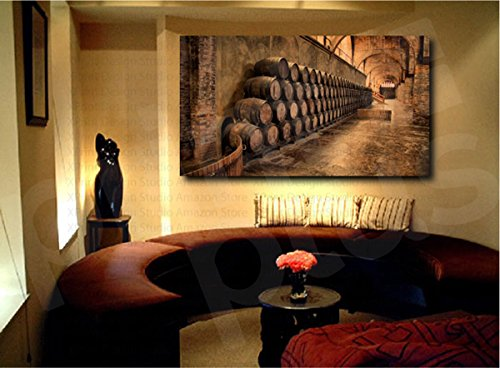 Wine Cellar Barrels Canvas Fine Art Print Home Wall Decor (Canvas 42in x 23in) (Wine Barrel Wall Decor compare prices)