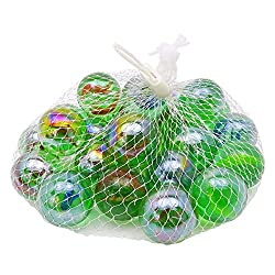 25 Pcs Colorful Decoration Shooter Marbles Boulder Glass Swirl Assortment Game