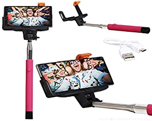 Selfie Stick Extendable Monopod With Inbuilt Bluetooth Remote Wireless Shutter Connectivity Compatible For Intex Aqua Ring -Pink