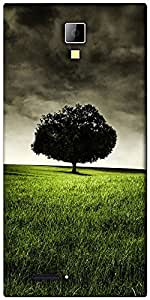 Snoogg single tree on hill Designer Protective Back Case Cover For Micromax Canvas Express A99