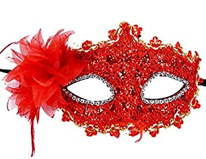 Lace Venetian Masquerade Halloween Costume Mask with Rhinestone Liles (Red)