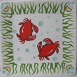 Cape Shore Crab Ceramic Square Plate 8
