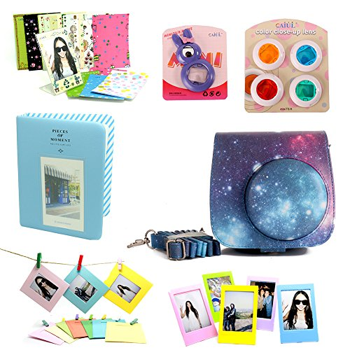 CAIUL 7 in 1 Fujifilm Instax Mini 8/8+ Camera Accessories Bundles (Galaxy Starry Sky Mini 8 Case/ Mini Album/ Close-up Selfie Lens/ 4 Colors Close-up Lens/Wall Hang Frames/Film Frame/Film Stickers) (Mini Instax 8 Grape Kit compare prices)