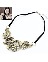 Cinderella Collection By Shining Diva Appealing Golden & Black Necklace For Women 7030np