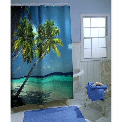 ... maytex tropical landscape vinyl shower curtain vinyl shower curtain