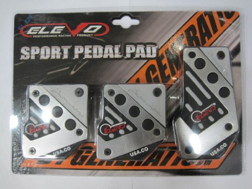 Elevo - Jet Silver Racing Pedal Covers Manual , Pedal Set in Automotive
