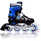 Adjustable Inline Skates for Kids, Featuring Illuminating Front Wheels, Awesome-looking, Safe and Durable Rollerblades, Latest Stylish Design, Perfect for Boys and Girls, 60-day Money Back Guarantee