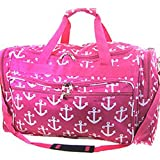 "Large 22"" Anchor Print Nautical Canvas Duffel Bag Travel Gym Dance Bag"