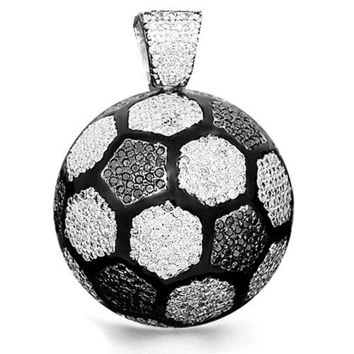 14K White Gold Mens Custom Diamond Soccer Ball