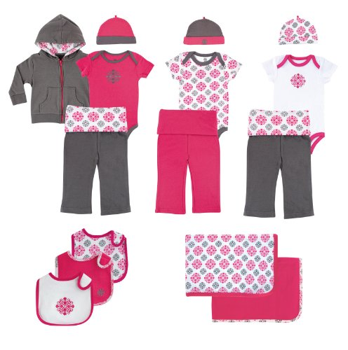 Yoga Sprout 15-Piece Gift Set, Pink Medallion, 3-6 Months