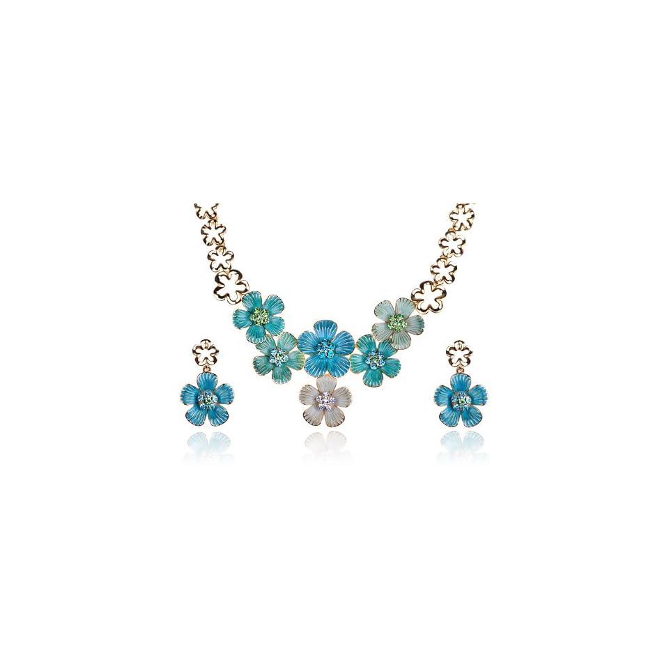 Gold Tone Enamel Clover Flower Swarovski Crystal Rhinestone Earring Necklace Set
