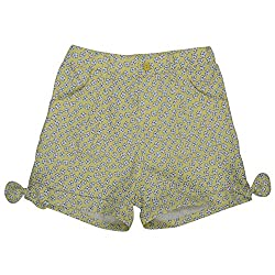 Buttercups Girls' 3 years Cotton Pleat Front Shorts (CFL04SH, Lemon Yellow, 23 inches)