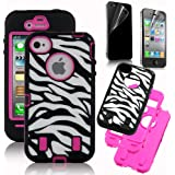 Bastex Rose Pink White Zebra Combo Hard Soft High Impact iPhone 4 4S Armor Case Skin Gel with free screen protector