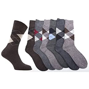 Mens Thermal Argyle Winter Socks (Pack of 6)