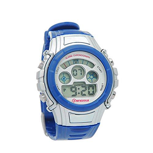 8Years- 1 Stueck Kinder Outdoor Armbanduhr Digital Uhr Stoppuhr Wasserdicht Dunkelblau