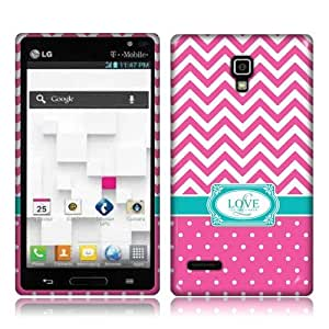NextKin LG Optimus L9 P769 Flexible Slim Silicone TPU Skin Gel Soft Protector Cover Case - Hot Pink Love Monogram