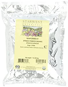 Starwest Botanicals Spinach Powder Organic, 1-Pound