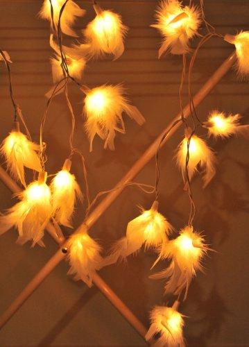 1 Set of 20 White Color Fluffy Fur Soft Lighting String Lights Set Lamp Decoration Patio Home ...