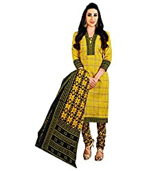 Shree Ganesh Yellow Cotton Printed Unstitched Churiddar Suit with Dupatta