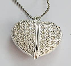 Anyusb053B Fancy Jewellery Studded White Heart Shape Pen Drive (8 Gb) + Exclusive Hand Made Gift Box