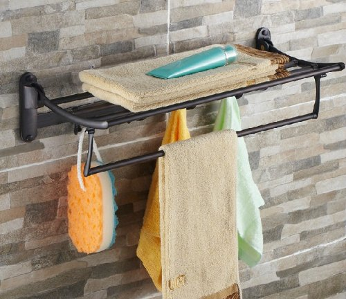 Oil Rubbed Bronze Bath Towel Holder Wall Mount Folding Towel Rack With Hooks Coconuas228