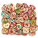 Heart Shaped Painted 2 Hole Wooden Buttons 20mm x22mm (Pack Of 25pcs)