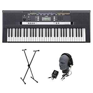 916325e1d6e Yamaha PSR E243 Premium Portable Keyboard Package with Headphones Power  Supply and Stand Package Pack Bundle Musical Instruments