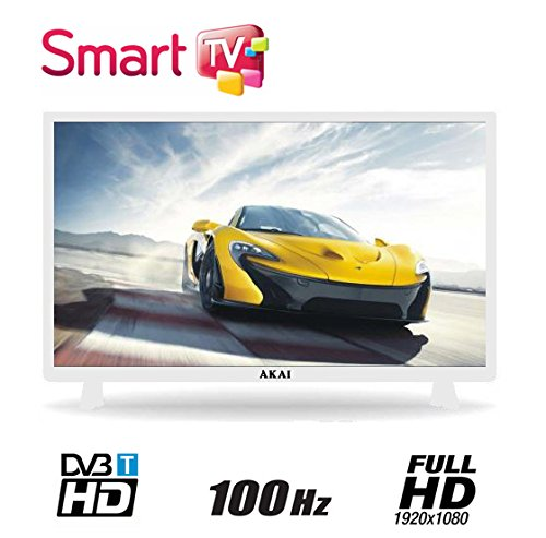 "AKAI TV LED 32"" FULL HD 100 HZ DIGITALE TERRESTRE DVB-T SMART TV WI-FI FUNZIONE HOTEL COLORE BIANCO"