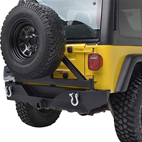 E-Autogrilles Jeep Wrangler TJ YJ Black Textured Off Road Rear Bumper with Tire Carrier