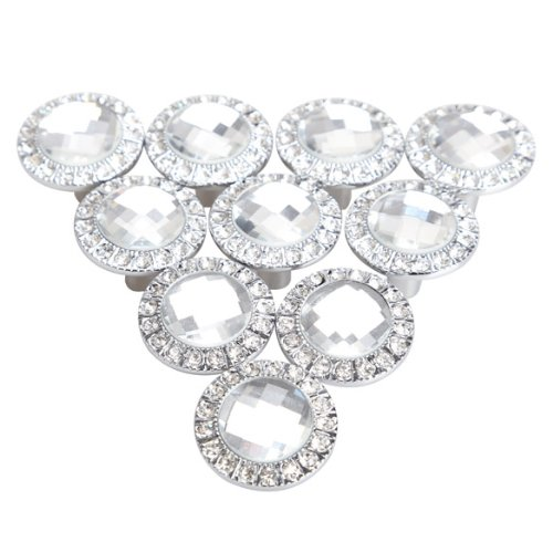 Pack of 10 Round Pull Handle Crystal Rhinestone Knob for Cupboard Drawer Wardrobe (Siver) - 1