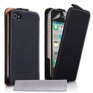 Mobile Madhouse TM Black Leather Flip Case Cover for the Apple iPhone 4 / 4S with Screen Protector Film