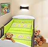 COT BUMPER 100 COTTON PADDED FOR BABY FIT COT 120x60 140x70 STRAIGHT 180cm to fit cot 120x60cm Teddy Window Green
