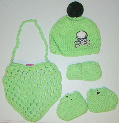 Verde a forma di cuore, con berretto, guanti a manopola e babbucce, Set da 6 pezzi