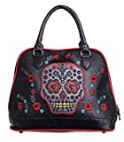 Sugar Candy Skull Faux Leather Bag handbag Banned (Living Dead Souls) Black Red