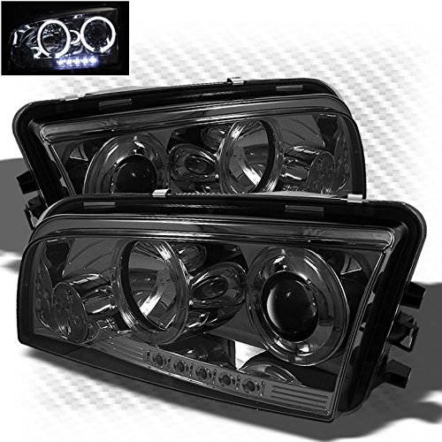Smoked 2006-2010 Dodge Charger Twin Halo LED Projector Headlights Smoke Head Lights Pair Left+Right 2007 2008 2009 (Dodge Charger Aftermarket Parts compare prices)