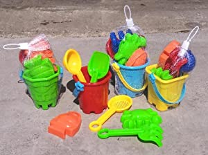 (4 Bucket Sets) 4 Sets of 7 Piece Sand & Water Play Set,shovel Sifter Crab Fish Bucket Scoop (All 4 Colors Included As Pictured)