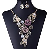 Handmade 3D Bling Crystal Rose Flower Leaf Statement Collar Necklace Earring Set