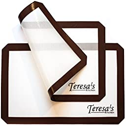 Teresa\'s Kitchen - Silicone Baking Mat - Non Stick - Baking Sheet for Oven or Toaster Oven - Cookie Sheets - Brown - Set of 2