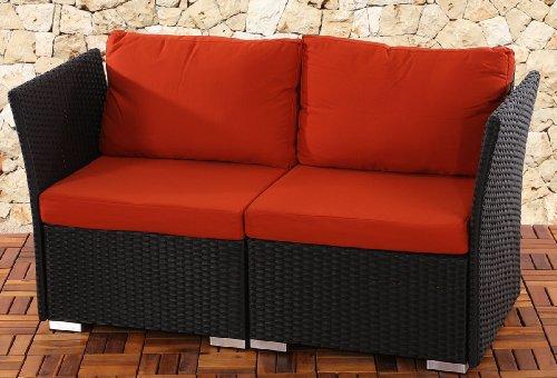 2er Sofa 2-Sitzer Siena Poly-Rattan, Gastronomie-Qualität ~ anthrazit mit Kissen in bordeaux
