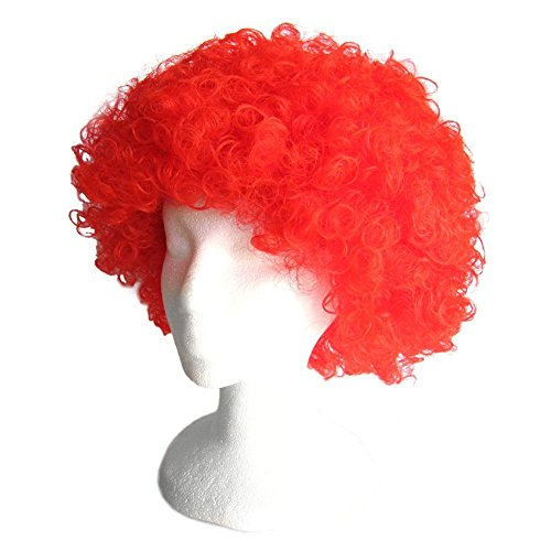 Red Afro Party Wig, Curly Wig, Red