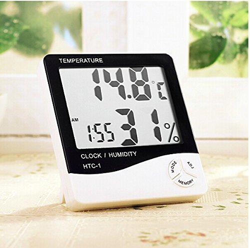 Multi-function Digital LCD Temperature Thermometer Humidity Meter Clock HTC-1