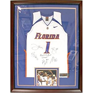Florida Gators Starting 5 Autographed (White #1) Deluxe Framed Jersey w  Back-to-Back... by PalmBeachAutographs.com