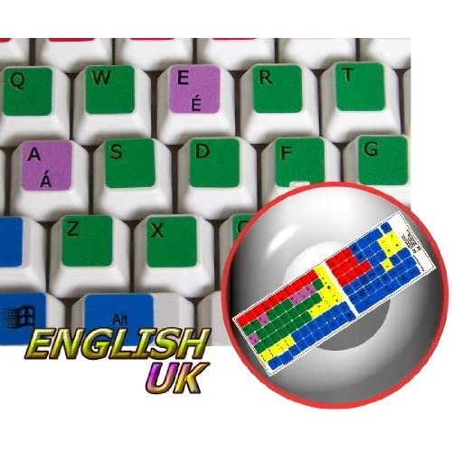 LEARNING ENGLISH UK COLORED PC KEYBOARD STICKER (DESKTOP, LAPTOP AND NOTEBOOK) 4KEYBOARD