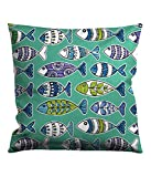 Fish Party Toss pillow, 18-inches by 18-Inches